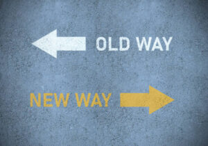 Old way or new way (in yellow) roadmarking