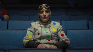 Polka dot man in a theater